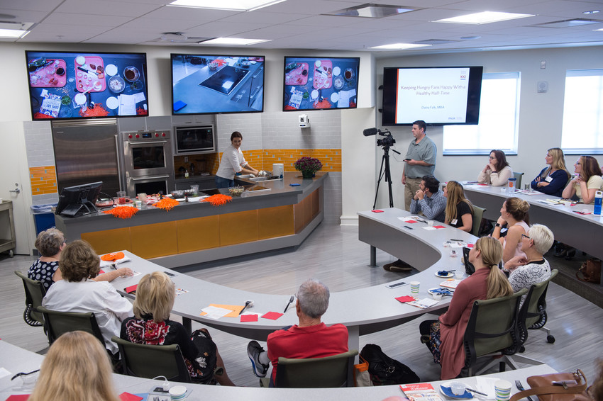 A fully operational test kitchen in Falk College offers nutrition and dietetics students hands-on experience in the classroom.