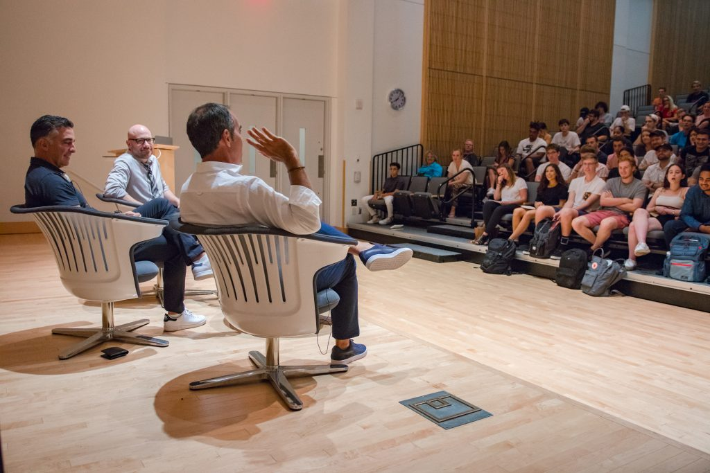 Bandier students learn from Monte and Avery Lipman, chairman and president of Republic Records during the David M. Rezak Lecture Series.