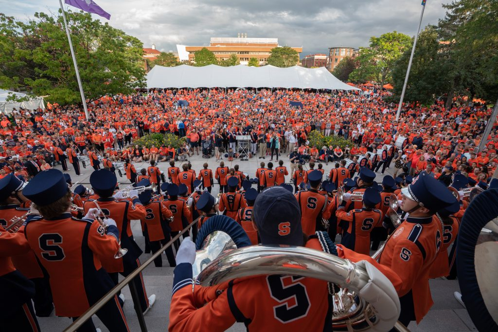 The Syracuse University Marching Band performs at Orange Central, SU's annual Homecoming celebration.