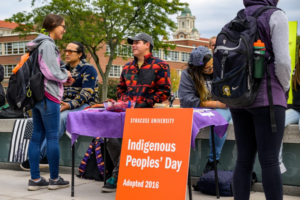 Students tabling on the quad in recognition of Indigenous Peoples' Day.