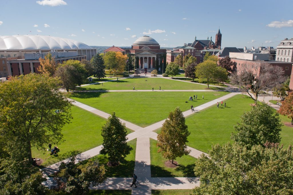 View of Hendricks Chapel and the quad.