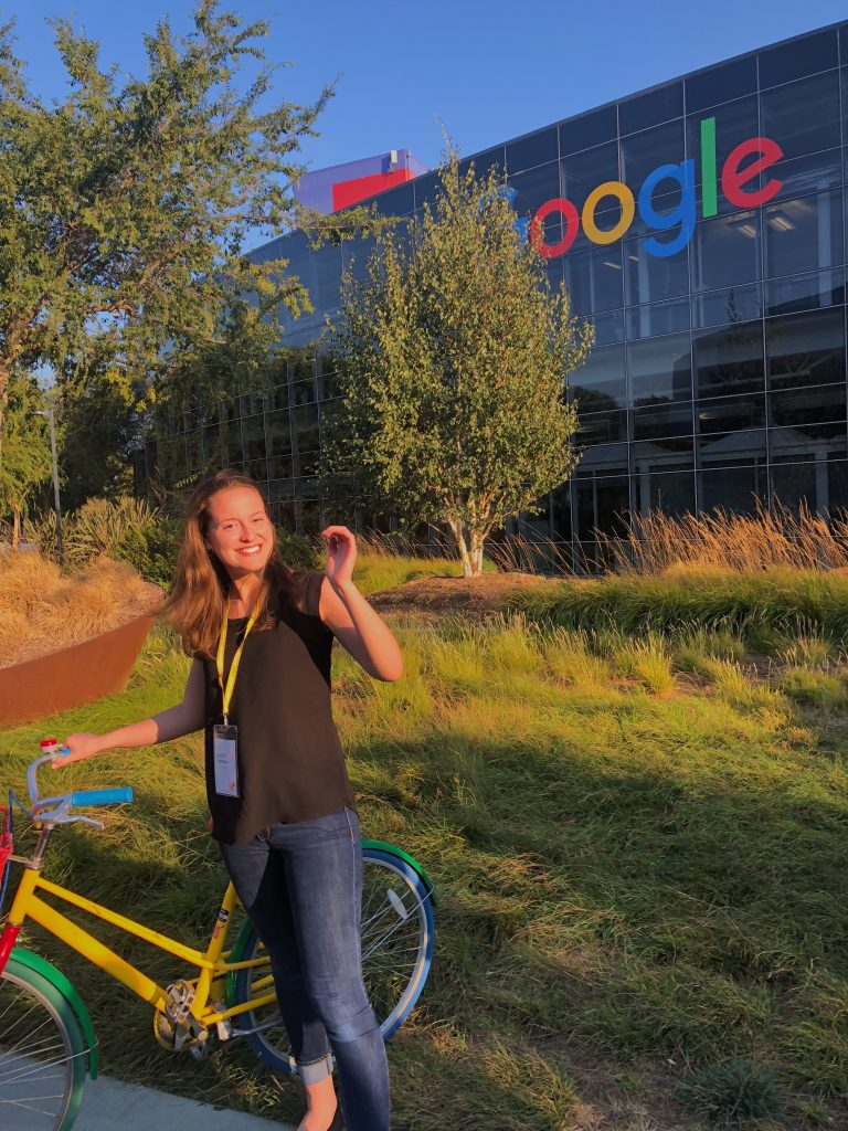 Caitlin Sanders '21 during a site visit to Google's headquarters. Photo courtesy of Caitlin Sanders.