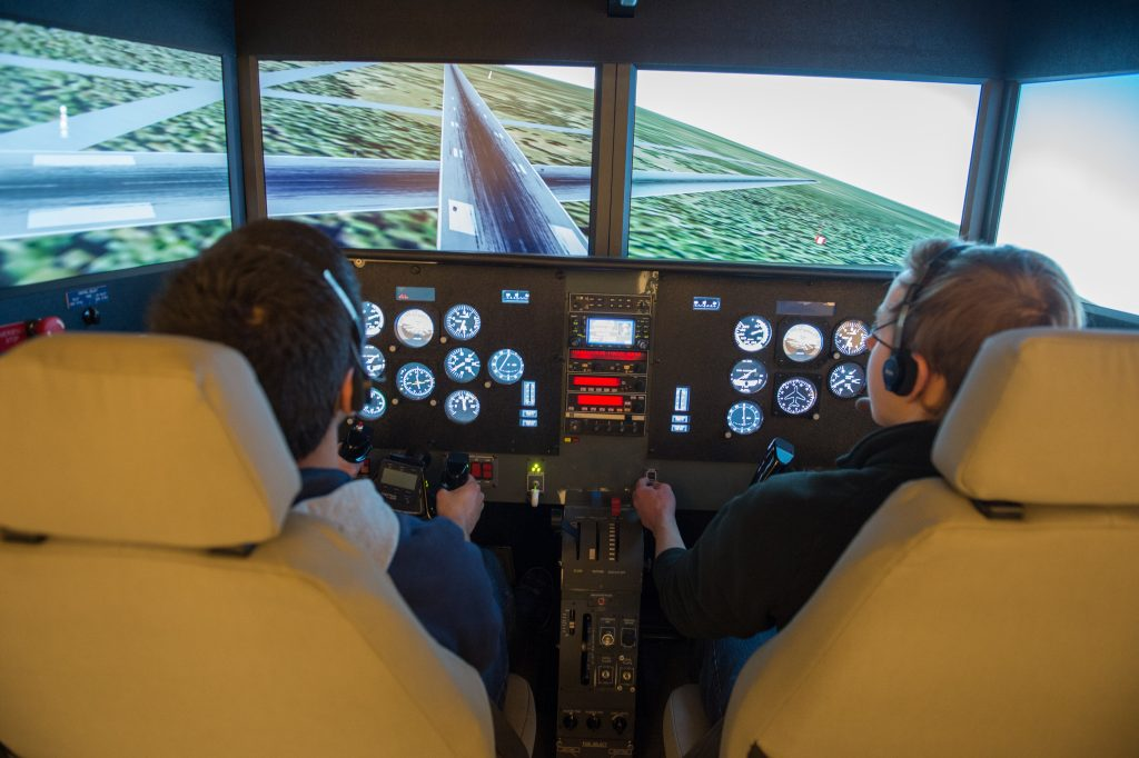 Syracuse is one of three colleges/universities nationwide to have a Fidelity MOTUS 622i flight simulator on campus.