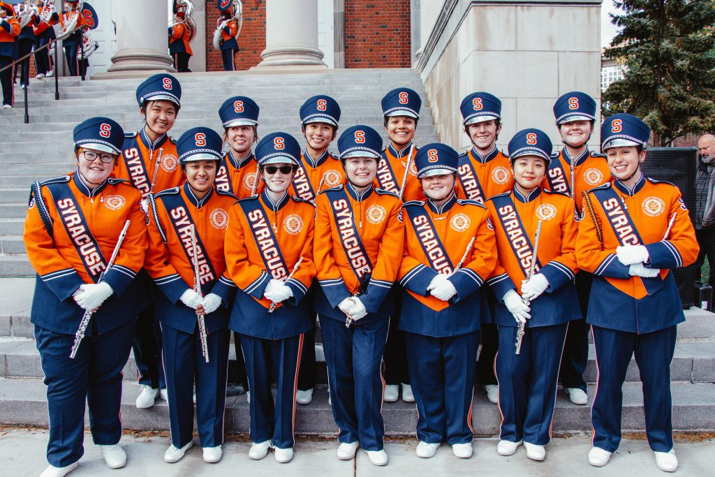 Dana '21 plays the piccolo in the Syracuse Marching Band.
