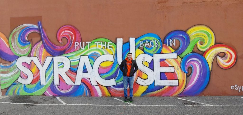 The Syracuse area is home to great shops, restaurants, activities and of course – murals! Photo courtesy of Jake Deitrich G'21.